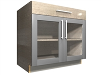 2 GLASS door 1 drawer base cabinet