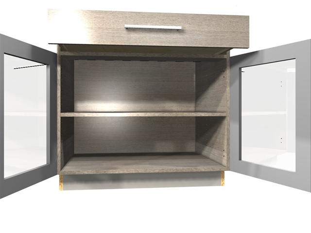 2 GLASS door 1 drawer base cabinet