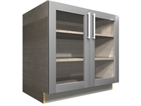 2 GLASS door base cabinet