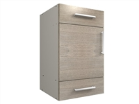1 door with 1 top drawer and one lower drawer closet cabinet