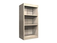 open wall cabinet with wide rails at top and bottom