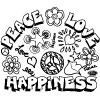 Peace, Love, and Happiness Coloring Page