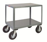 Mobile Table 2 Shelf 30x60 1200 lb Cap Pneumatic Casters