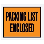 "4 1/2"" x 5 1/2"" Orange ""Packing List Enclosed"" Envelopes"