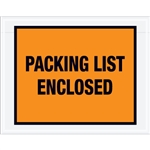 "7"" x 5 1/2"" Orange ""Packing List Enclosed"" Envelopes 1000/Case"