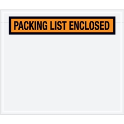 "6 1/2"" x 5"" Orange ""Packing List Enclosed"" Envelopes 1000/Case"