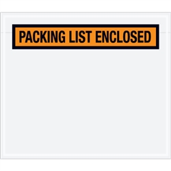 "7"" x 6"" Orange ""Packing List Enclosed"" Envelopes 1000/Case"