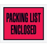 "4 1/2"" x 5 1/2"" Red ""Packing List Enclosed"" Envelopes 1000/Case"
