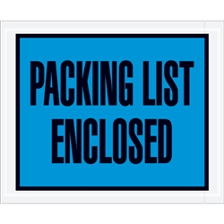 "4 1/2"" x 5 1/2"" Blue ""Packing List Enclosed"" Envelopes 1000/Case"