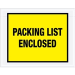 "7"" x 5 1/2"" Yellow ""Packing List Enclosed"" Envelopes 1000/Case"