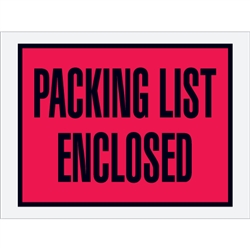 "4 1/2"" x 6"" Red (Open End) ""Packing List Enclosed"" Envelopes 1000/Case"