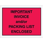 "4 1/2"" x 6"" Red ""Important Invoice and/or Packing List Enclosed"" Envelopes 1000/Case"