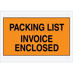 "7"" x 10"" Orange ""Packing List/Invoice Enclosed"" Envelopes 1000/Case"