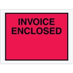 "4 1/2"" x 6"" Red (Full Face) ""Invoice Enclosed"" Envelopes 1000/Case"