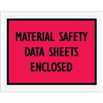 "7"" x 5 1/2"" Red ""Material Safety Data Sheets Enclosed"" Envelopes 1000/Case"