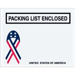"4 1/2"" x 5 1/2"" U.S.A. Ribbon ""Packing List Enclosed"" Envelopes 1000/Case"