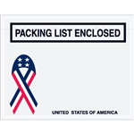 "7"" x 5 1/2"" U.S.A. Ribbon ""Packing List Enclosed"" Envelopes 1000/Case"