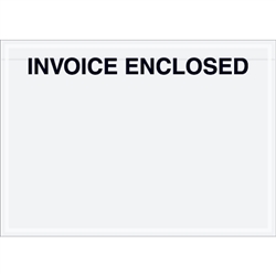 "7"" x 5"" Clear Face ""Invoice Enclosed"" Envelopes 1000/Case"