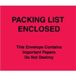 "7"" x 6"" Red (Paper Face) ""Packing List Enclosed"" Important Papers Enclosed Envelopes 1000/Case"