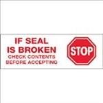 "TAPE, PRINTED ""STOP IF SEAL IS BROKEN"", 2"" X 110 YD, 36/CS, WHITE/RED"