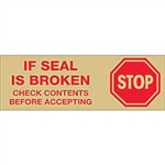"TAPE, PRINTED ""STOP IF SEAL IS BROKEN"", 2"" X 110 YD, 36/CS, TAN/RED"