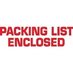 "TAPE, PRINTED ""PACKING LIST ENCLOSED"", 2"" X 110 YD, 36/CS, WHITE/RED"