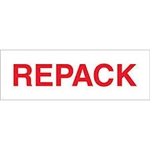 "TAPE, PRINTED ""REPACK"", 2"" X 110 YD, 36/CS, WHITE/RED"