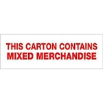 "TAPE, PRINTED ""THIS CARTON CONTAINS"", 2"" X 110 YD, 36/CS, WHITE/RED"