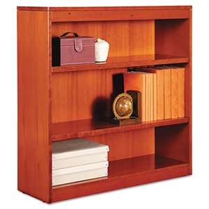 ALERA Square Corner Wood Bookcase, Three-Shelf, 35-5/8 x 11-3/4 x 36, Medium Cherry