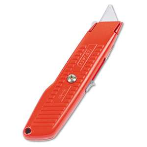 STANLEY BOSTITCH Interlock Safety Utility Knife w/Self-Retracting Round Point Blade, Red Orange