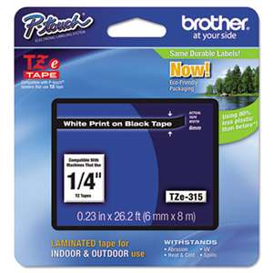 Brother P-Touch TZE315 TZe Standard Adhesive Laminated Labeling Tape, 1/4w, White on Black
