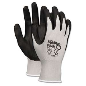 MCR SAFETY Economy Foam Nitrile Gloves, Large, Gray/Black, 12 Pairs