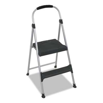 Marvelous Aluminum Step Stool 2 Step 225Lb 18 9 10 Working Height Platinum Black Inzonedesignstudio Interior Chair Design Inzonedesignstudiocom