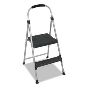 "COSCO Aluminum Step Stool, 2-Step, 225lb, 18 9/10"" Working Height, Platinum/Black"
