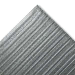 CROWN MATS & MATTING Ribbed Anti-Fatigue Mat, Vinyl, 27 x 36, Gray