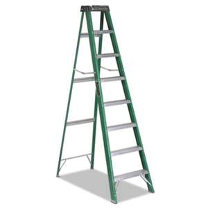 LOUISVILLE #592 Folding Fiberglass Step Ladder, 8 ft, 7-Step, Green/Black