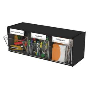 DEFLECTO CORPORATION Tilt Bin Plastic Storage System, 3 Bins, 23 5/8 x 7 3/4 x 9 1/2, Black