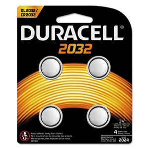Duracell DL2032B4PK Lithium Medical Battery, 3V, 2032, 4/Pk