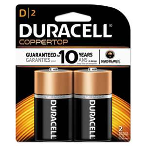 Duracell MN1300B2Z CopperTop Alkaline Batteries with Duralock Power Preserve Technology, D, 2/Pk