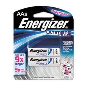 Energizer L91BP2 Lithium Batteries, AA, 2 Batteries/Pack