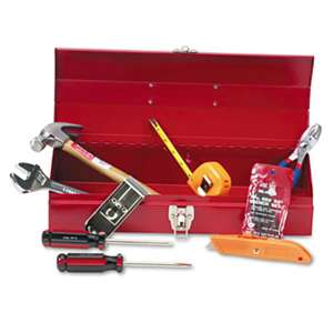 GREAT NECK SAW MFG. 16-Piece Light-Duty Office Tool Kit, Metal Box, Red