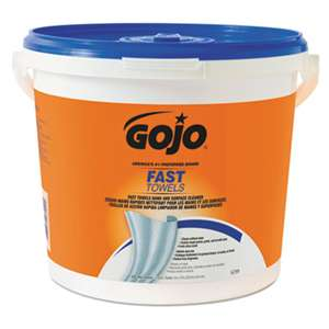 GO-JO INDUSTRIES FAST TOWELS Hand Cleaning Towels, Cloth, 9 x 10, White 225/Bucket