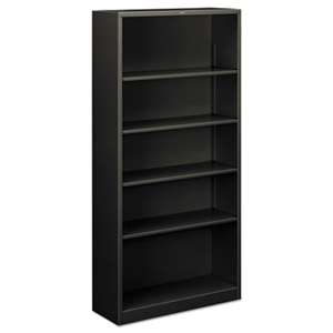 HON COMPANY Metal Bookcase, Five-Shelf, 34-1/2w x 12-5/8d x 71h, Charcoal