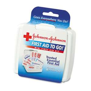 JOHNSON & JOHNSON Mini First Aid To Go Kit, 12-Pieces, Plastic Case
