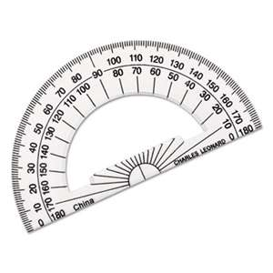 "CHARLES LEONARD, INC Open Center Protractor, Plastic, 4"" Base, Clear"