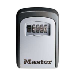 MASTER LOCK COMPANY Locking Combination 5 Key Steel Box, 3 7/8w x 1 1/2d x 4 5/8h, Black/Silver