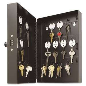 "MMF INDUSTRIES Hook-Style Key Cabinet, 28-Key, Steel, Black, 7-3/4""w x  3-1/4""d x 11-1/2""h"