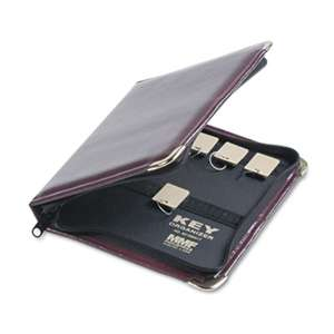 MMF INDUSTRIES Portable Zippered Key Case, 24-Key, Leather-Like Vinyl, Burgundy, 8 3/8 x 7