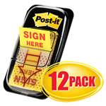 "3M/COMMERCIAL TAPE DIV. Arrow Message 1"" Page Flags,  ""Sign Here"", Yellow, 12 50-Flag Dispensers/Pk"