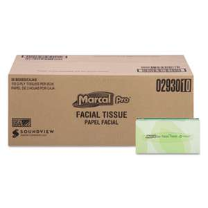 MARCAL MANUFACTURING, LLC 100% Recycled Convenience Pack Facial Tissue, White, 100/Box, 30 Boxes/Carton